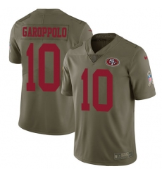 Men's Nike San Francisco 49ers #10 Jimmy Garoppolo Limited Olive 2017 Salute to Service NFL Jersey