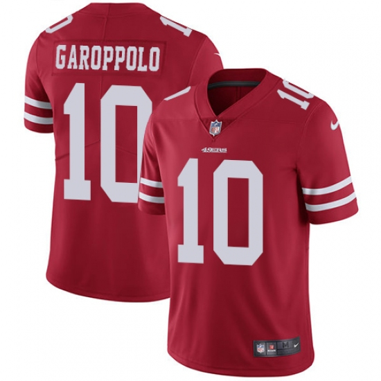 Men's Nike San Francisco 49ers #10 Jimmy Garoppolo Red Team Color Vapor Untouchable Limited Player NFL Jersey
