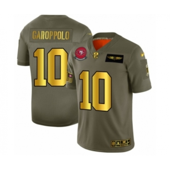 Men's San Francisco 49ers #10 Jimmy Garoppolo Limited Olive Gold 2019 Salute to Service Football Jersey