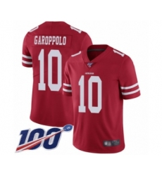 Men's San Francisco 49ers #10 Jimmy Garoppolo Red Team Color Vapor Untouchable Limited Player 100th Season Football Jersey