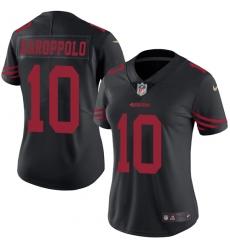 Women's Nike San Francisco 49ers #10 Jimmy Garoppolo Limited Black Rush Vapor Untouchable NFL Jersey