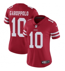 Women's Nike San Francisco 49ers #10 Jimmy Garoppolo Red Team Color Vapor Untouchable Elite Player NFL Jersey