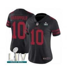 Women's San Francisco 49ers #10 Jimmy Garoppolo Black Vapor Untouchable Limited Player Super Bowl LIV Bound Football Jersey