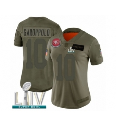 Women's San Francisco 49ers #10 Jimmy Garoppolo Limited Olive 2019 Salute to Service Super Bowl LIV Bound Football Jersey