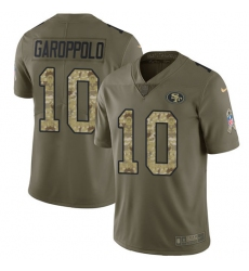 Youth Nike San Francisco 49ers #10 Jimmy Garoppolo Limited Olive/Camo 2017 Salute to Service NFL Jersey