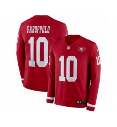 Youth Nike San Francisco 49ers #10 Jimmy Garoppolo Limited Red Therma Long Sleeve NFL Jersey