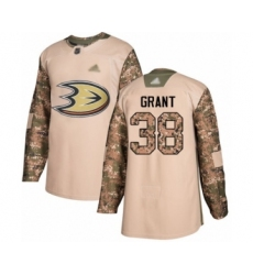 Men's Anaheim Ducks #38 Derek Grant Authentic Camo Veterans Day Practice Hockey Jersey