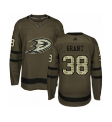 Men's Anaheim Ducks #38 Derek Grant Authentic Green Salute to Service Hockey Jersey