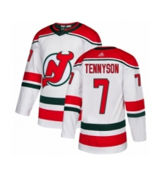 Men's New Jersey Devils #7 Matt Tennyson Authentic White Alternate Hockey Jersey