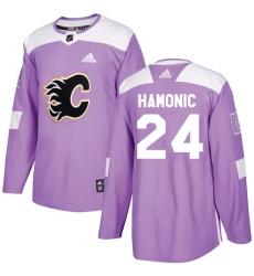 Men's Adidas Calgary Flames #24 Travis Hamonic Authentic Purple Fights Cancer Practice NHL Jersey