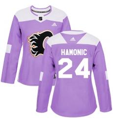 Women's Reebok Calgary Flames #24 Travis Hamonic Authentic Purple Fights Cancer Practice NHL Jersey