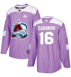 Men's Adidas Colorado Avalanche #16 Nikita Zadorov Authentic Purple Fights Cancer Practice NHL Jersey