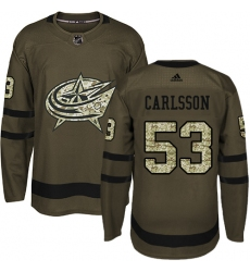 Men s Adidas Columbus Blue Jackets  53 Gabriel Carlsson Authentic Green  Salute to Service NHL Jersey 8681a9f24