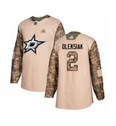 Men's Dallas Stars #2 Jamie Oleksiak Authentic Camo Veterans Day Practice Hockey Jersey
