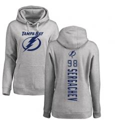 NHL Women s Adidas Tampa Bay Lightning  98 Mikhail Sergachev Ash Backer  Pullover Hoodie d6892c4d9