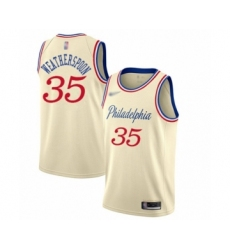 Men's Philadelphia 76ers #35 Clarence Weatherspoon Swingman Cream Basketball Jersey - 2019 20 City Edition
