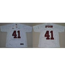 Alabama Crimson Tide #41 Courtney Upshaw White 2016 College Football Playoff National Championship Patch Stitched NCAA Jersey