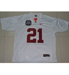 Crimson Tide #21 Dre Kirkpatrick White 2012 BCS Championship Patch Embroidered NCAA Jersey
