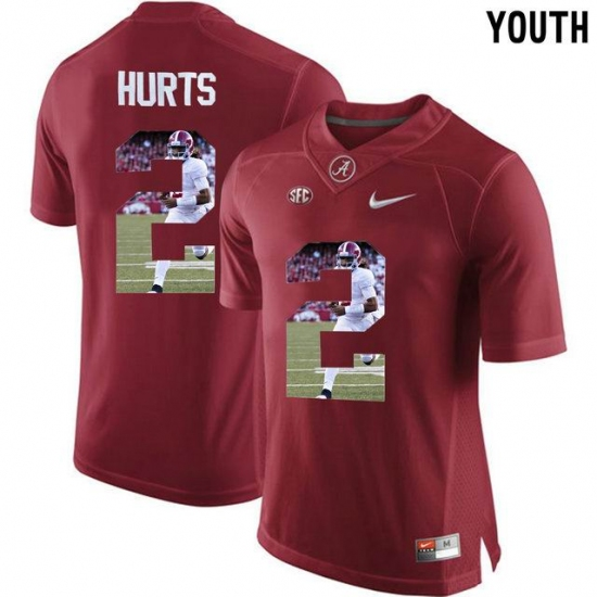 2d515e241 Alabama Crimson Tide  2 Jalen Hurts Red With Portrait Print Youth College Football  Jersey