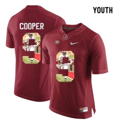 Alabama Crimson Tide #9 Amari Cooper Red With Portrait Print College Youth Football Jersey2