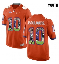Clemson Tigers #10 Ben Boulware Orange With Portrait Print Youth College Football Jersey