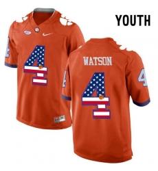 Clemson Tigers #4 DeShaun Watson Orange USA Flag Youth College Football Jersey