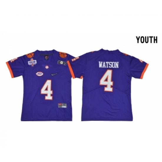 cheaper b0dbf fbefa Clemson Tigers 4 Deshaun Watson Purple Youth Diamond Logo ...