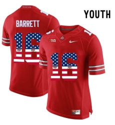 Ohio State Buckeyes #16 J.T Barrett Red USA Flag Youth College Football Limited Jersey