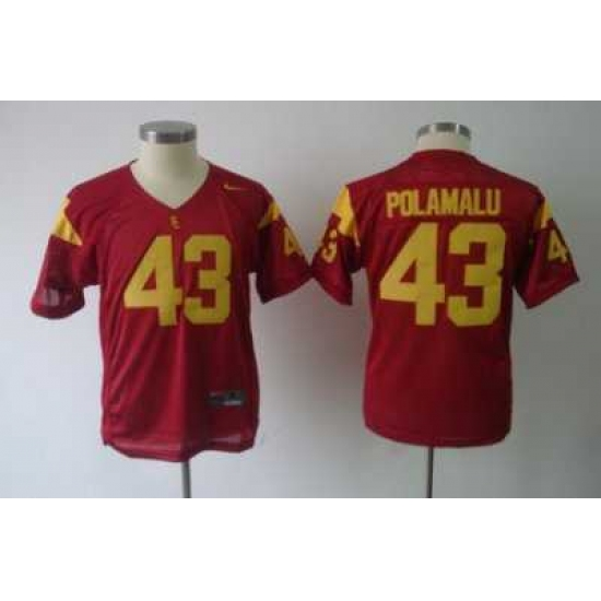 promo code b9712 bb2b7 Youth NCAA Trojans #43 Troy Polamalu Red Embroidered Jersey ...
