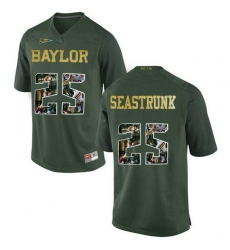 Baylor Bears #25 Lache Seastrunk Green With Portrait Print College Football Jersey
