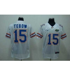 Gators #15 Tim Tebow White Embroidered NCAA Jersey