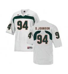 Miami Hurricanes 94 Dwayne Johnson White College Football Jersey