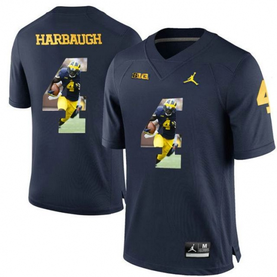 1c440055c Michigan Wolverines  4 Jim Harbaugh Navy With Portrait Print College Football  Jersey