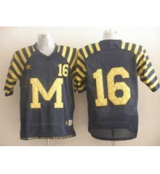 Wolverines #16 Denard Robinson Blue Under The Lights Embroidered NCAA Jerseys