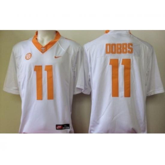 ea8407c5899 Tennessee Volunteers 11 Joshua Dobbs White College Football Jersey ...