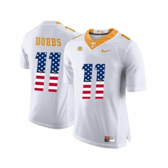 837ea02153d Tennessee Volunteers 11 Joshua Dobbs White USA Flag College Football Jersey