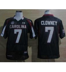 Under Armour South Carolina Javedeon Clowney 7 New SEC Patch NCAA Football - Black