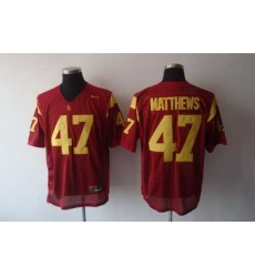 Trojans #47 Red Embroidered NCAA Jersey