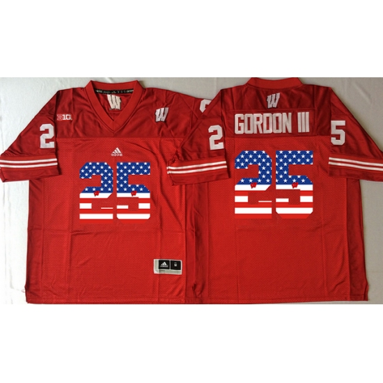 brand new fd790 57377 Wisconsin Badgers #25 Melvin Gordon III Red USA Flag College ...