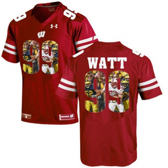new styles 0667d ddbd3 Wisconsin Badgers #99 J.J. Watt Red With Portrait Print ...
