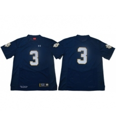 Fighting Irish #3 Joe Montana Navy Blue Limited Stitched NCAA Jersey