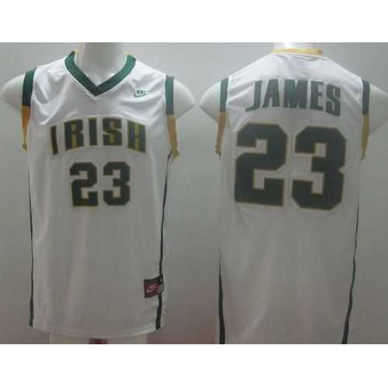 save off 7d662 08f9d Notre Dame Fighting Irish #23 Lebron James White Basketball ...