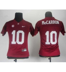 Women Alabama Crimson Tide 10 AJ McCarron Red College Football NCAA Jerseys