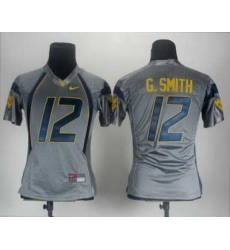 Women Nike West Virginia Mountaineers 12 Geno Smith Grey College Football NCAA Jerseys