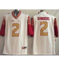 Florida State Seminoles #2 Deion Sanders White Limited Stitched NCAA Limited Jersey