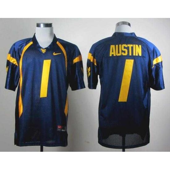 sports shoes 053f7 1baed NCAA Nike West Virginia Mountaineers Tavon Austin 1 blue WVU ...