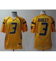 NEW West Virginia Mountaineers Stedman Bailey 3 Golden College Football Jerseys