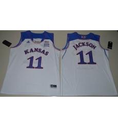 Kansas Jayhawks #11 Josh Jackson White Basketball Authentic Stitched NCAA Jersey