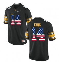 Iowa Hawkeyes #14 Desmond King Black USA Flag College Football Limited Jersey