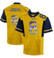 West Virginia Mountaineers #8 Karl Joseph Gold With Portrait Print College Football Jersey